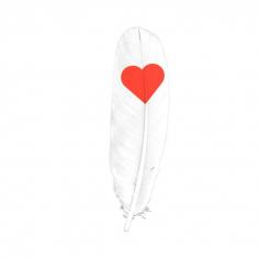 Перья Сердце Красные