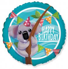 Шар Круг Коала С днем рождения / Happy Birthday (в упаковке)