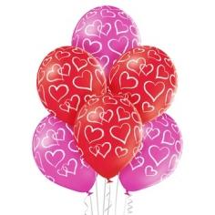 Шар Сердца мелом, Розовый-Белый Пастель (шелк) 5 ст