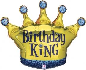 Шар Фигура, Корона, День Рождения Короля, Синий/Золото, Голография (в упаковке)