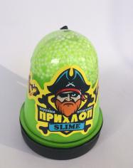 Слайм Прихлоп Флуоресцентный ЛАЙМ с шариками