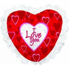 Шар Сердце, Я люблю тебя (рюшки), Красный