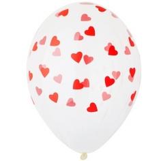 Шар Сердца Красные, Белый Кристалл (шелк) 5 ст