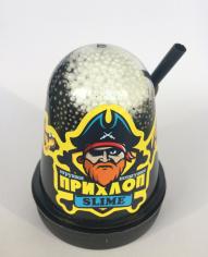 Слайм Прихлоп Флуоресцентный ЧЕРНЫЙ с шариками