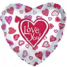 Шар Сердце, Я люблю тебя (много сердец), Белый