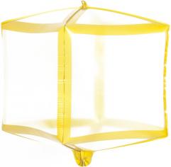Шар 3D Куб Золотые грани, Прозрачный (в упаковке)