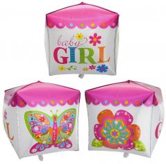 Шар 3D Куб, Малышка девочка (в упаковке)