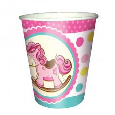 Стаканы бумажные Лошадка Малышка розовая 6шт