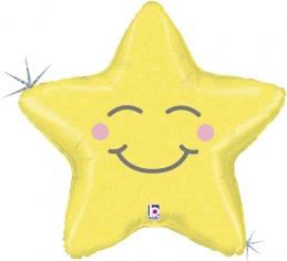 Шар Фигура, Счастливая звезда, Золото, Голография (в упаковке)