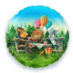 Шар Круг Лесные друзья / Forest animals (в упаковке)
