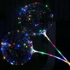 Шар Сфера 3D, Deco Bubble в комплекте со светящейся нитью и палкой - ручкой