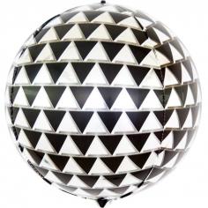 Шар Сфера 3D, Геометрия треугольников, Черный/Серебро (в упаковке)
