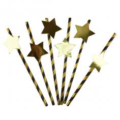 Трубочки для коктейля с золотой Звездой