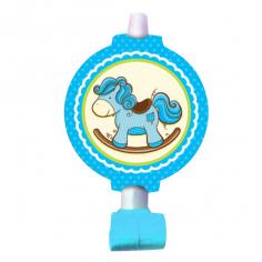Язычок-гудок с карточкой Лошадка Малыш голубая 6шт
