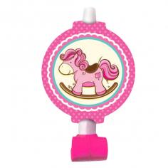 Язычок-гудок с карточкой Лошадка Малышка розовая 6шт