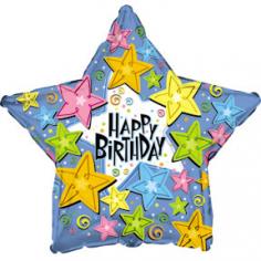 Шар Звезда, С Днем рождения (звезды) Голубой