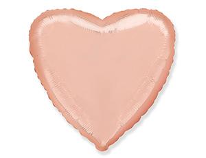 Шар Сердце, Розовое золото, Металлик / Rose Gold (в упаковке)