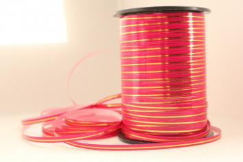 Лента Ярко-розовая с Золотой полоской
