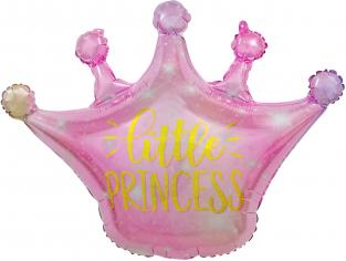 Шар Фигура Корона, Маленькая Принцесса (искорки звезд), Розовый Градиент (в упаковке)