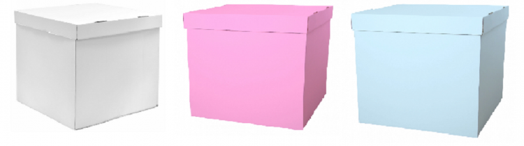 Набор коробок для воздушных шаров, Белый + Розовый + Голубой