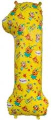 Шар Цифра, 1 Три Кота, Желтый (в упаковке)
