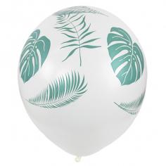 Шар Листья Тропики, Белый Пастель (шелк) 5 ст
