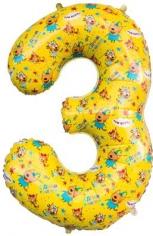 Шар Цифра, 3 Три Кота, Желтый (в упаковке)