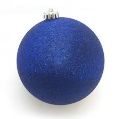 Новогодний шар Темно-синий (с глиттером)