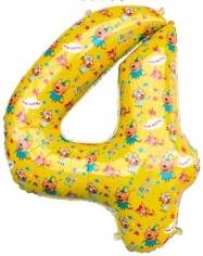 Шар Цифра, 4 Три Кота, Желтый (в упаковке)