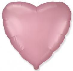 Шар Сердце, Розовый Сатин / Pink Satin (в упаковке)