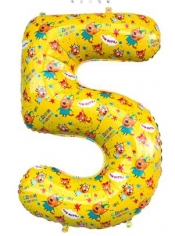 Шар Цифра, 5 Три Кота, Желтый (в упаковке)