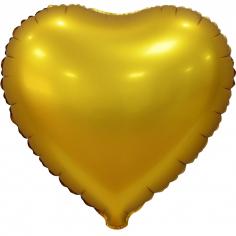 Шар Сердце, Золото, Сатин, в упаковке 5 шт