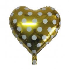 Шар Сердце, Горошек белый, Золото (в упаковке)