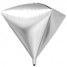 Шар 3D Алмаз, Серебро (в упаковке)