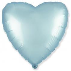 Шар Сердце, Голубой Сатин / Blue Satin (в упаковке)