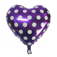 Шар Сердце, Горошек белый, Фиолетовый (в упаковке)