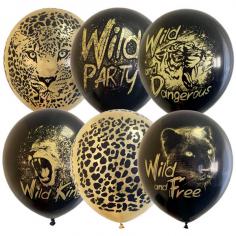 Шар Wild Party, Ассорти Золото / Черные 2 ст