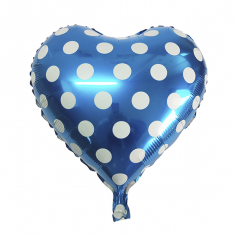 Шар Сердце, Горошек белый, Голубой (в упаковке)