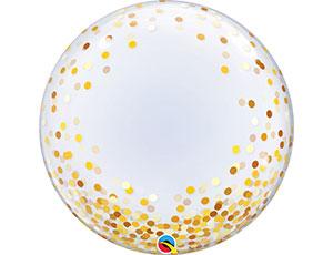 Шар Сфера 3D, Deco Bubble, Конфетти золотое (в упаковке)