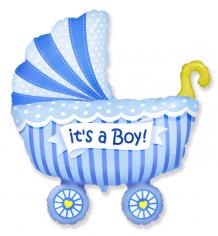 Шар фигура, Коляска Это мальчик / Baby buggy boy (в упаковке)