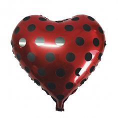 Шар Сердце, Горошек черный, Красный (в упаковке)