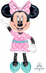 Шар Ходячая фигура, Минни платье розовое в горошек (в упаковке)