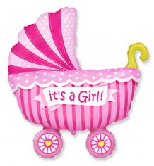 Шар фигура, Коляска Это девочка / Baby buggy girl (в упаковке)