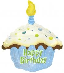 Шар фигура, Кекс с Днем рождения, Голубой (в упаковке)