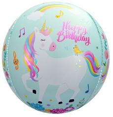 Шар Сфера 3D, С Днем Рождения (волшебные единороги), Бирюзовый (в упаковке)